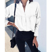 Ruffle Solid Color Long Sleeve Shirt