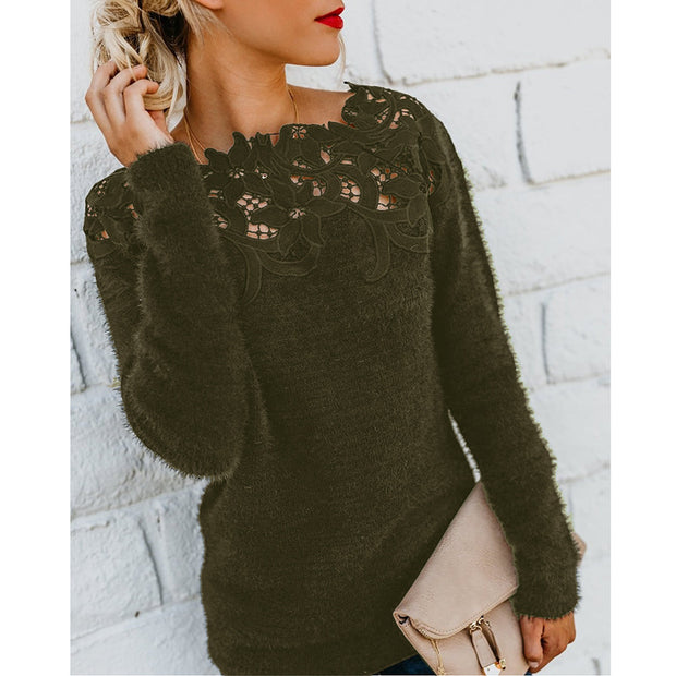 Off Shoulder Lace Splicing Solid Color Sweater