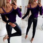 sexy solid color half shoulder  long sleeve t shirt