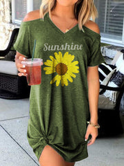 Sunshine Sunflower Off-the-shoulder Short Sleeve Dress