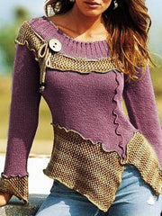 Fashion splicing round neck long sleeve sweater