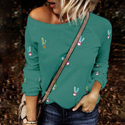Printed Cactus Half Shoulder Long Sleeves T Shirt