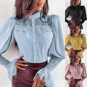 Solid Color Lace Button Long Sleeve Shirt