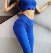 Seamless Plaid solid shape hip lifting Yoga Pants