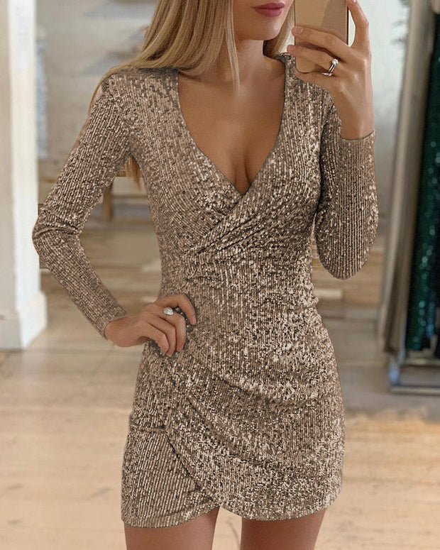 Sexy V-neck cropped skirt Sequin dress