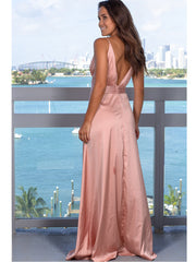 Sexy V-neck open back party dress