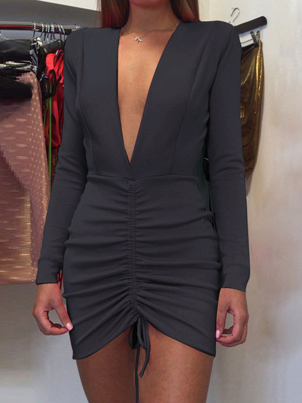 V-Neck Long Sleeves Bodycon Dress