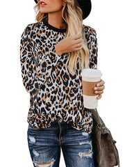 Fashion Leopard Pattern Round Neck Long Sleeve Blouse