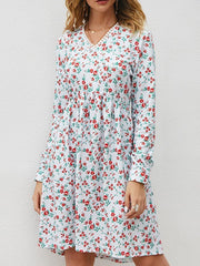 Fashion Loose Long Sleeve Floral Dress