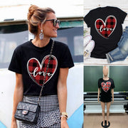 Round Neck Plaid Heart Love Printed Short Sleeves T-shirt