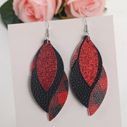 Plaid Sequined Leaf Multi-Layered Leather Earrings
