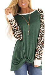 Casual T-shirt With Leopard Printing Long Sleeve