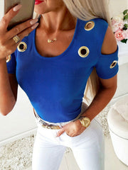 Cold Shoulder Solid Color Shirt