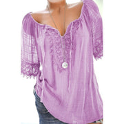 V-neck solid color lace short-sleeved T-shirt