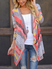 Autumn Asymmetrical  Striped Long Sleeves Cardigan