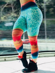 Volcano Color Block Print Yoga Sports Leggings