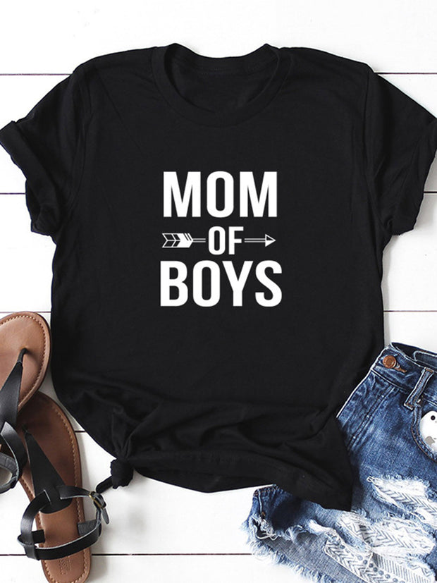 MOM OF BOYS Letters Printed T-shirt