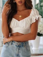 V-Neck Lace-up Short Sleeves Shirt