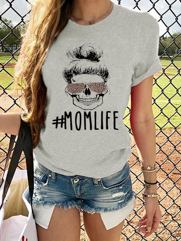 MOMLIFE Letters Printed T-shirt