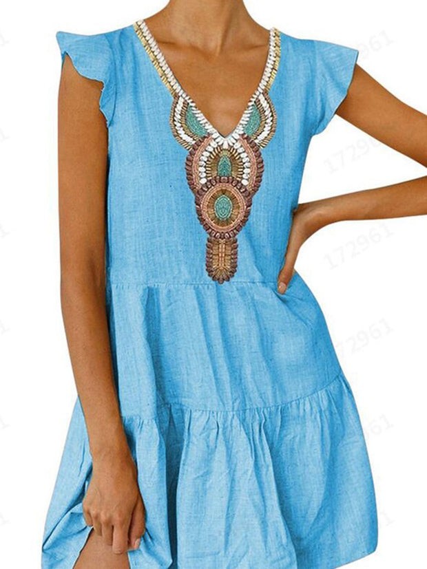 Ethnic V-Neck Casual Mini Dress