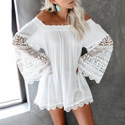 Classy Lace Hollow Long Sleeve Dress