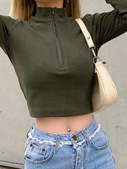Long Sleeves Solid Color T-shirt