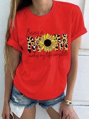 MOM Letters sunflower  Printed T-shirt