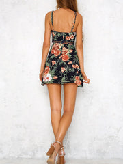 Fashion V-Neck Hollow Out Floral Dresses