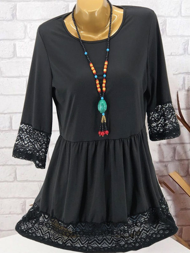 Solid Color Round Neck Lace Splicing Casual Dresses