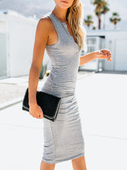 V-Neck Solid Color Bodycon Dress