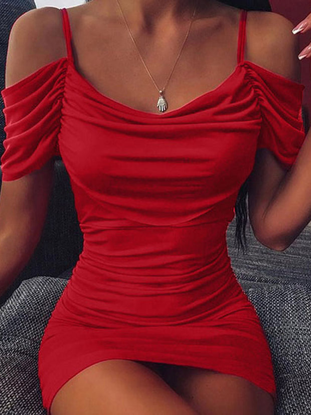 Straps Solid Color Bodycon Dress