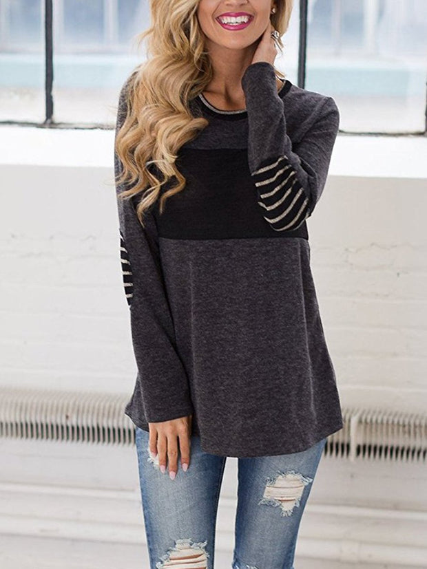 Round Neck Long Sleeve Colorblock Cotton T-shirt