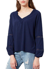 V-Neck lace Hollow Out Blouse