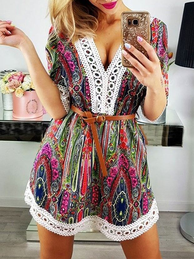 V-Neck lace Splicing printed Floral Dresses