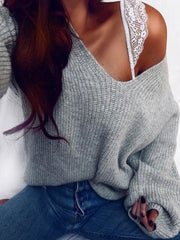 Pullover Loose V-Neck Sweater