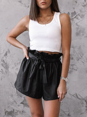 Casual Lace-up Fur Shorts