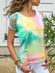 Tie-dye Hollow Out T-shirt