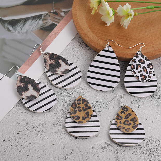Layered Leopard and Stripe Earrings
