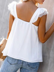 lace Splicing Short Sleeves Blouse