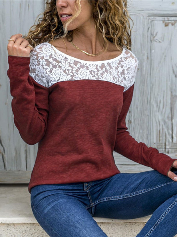 Long Sleeves Lace Splicing T-shirt