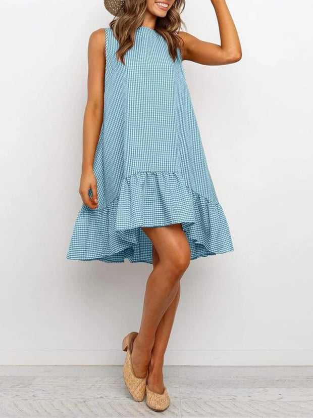 Checked Round Neck Ruffles Shift Dresses