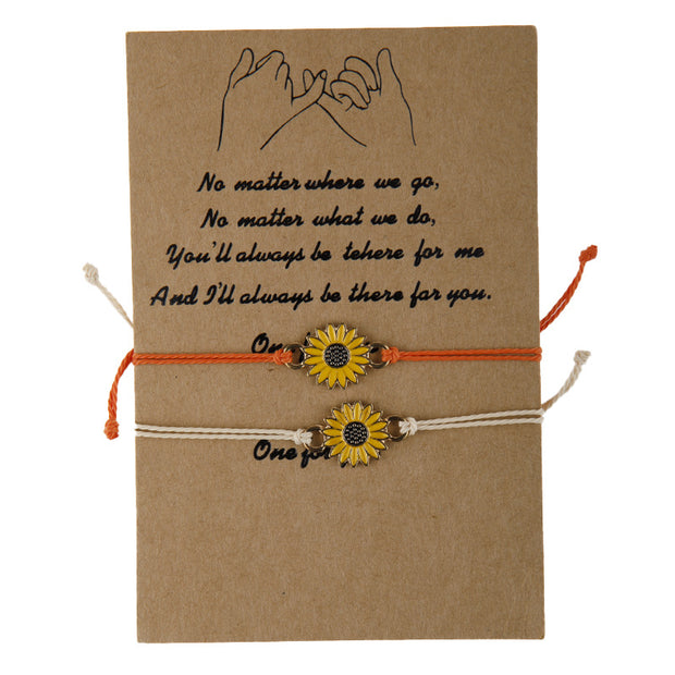 2 pcs Adjustable Sunflower Braid Alloy Bracelets with card