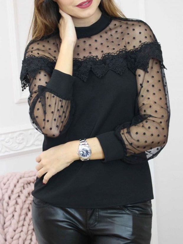 Lace Long Sleeves See-through Blouse