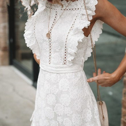 Embroidered Lace Wooden Ear Dress