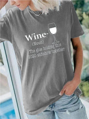 WINE Neckline Hole Design T-shirt