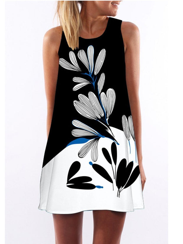 Round Neck Color Block Floral Sleeveless Shift Dress