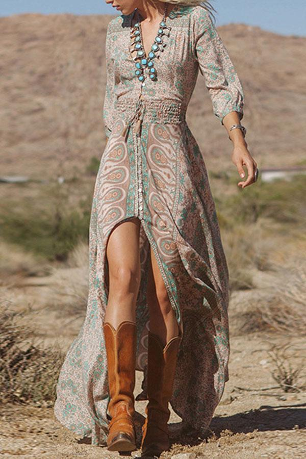 Deep V Neck Paisley Lantern Sleeves Maxi Dress