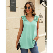 Shoulder Ruffled V-neck Top