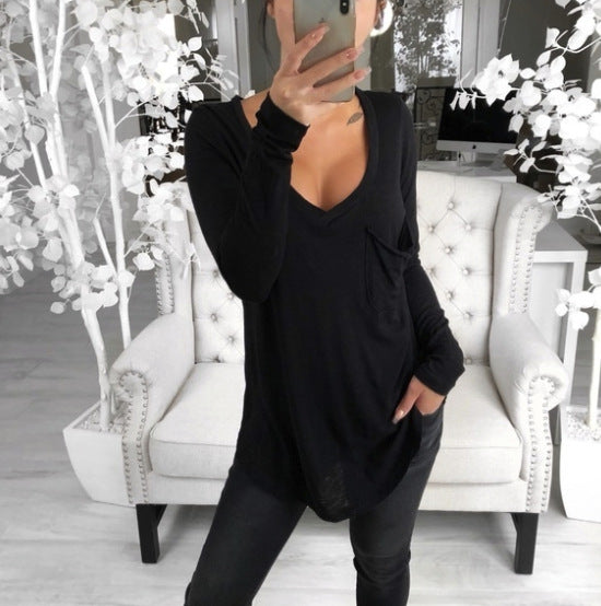 Sexy V-neck loose pocket long sleeve T-shirt