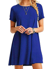 Round Neck Solid Color Short Sleeves Shift Dress